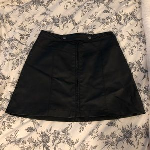 Abercrombie and Fitch Black Leather Skater Skirt